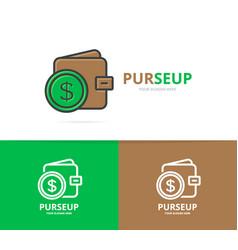 wallet logo unique purse and bank vector image vector image