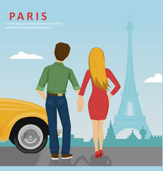 Young couple looking at eiffel tower in paris vector