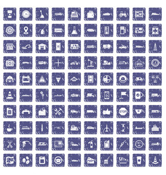 100 gas station icons set grunge sapphire vector image