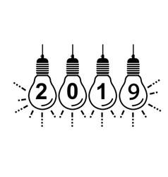 2019 happy new year bulbs vector image