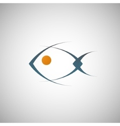 abstract blue fish on a white background vector image