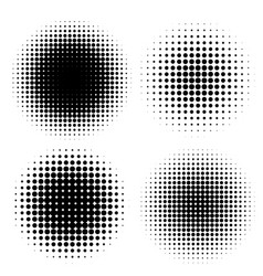 abstract halftone circle shapes set vector image