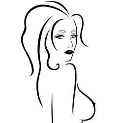 Abstract young woman with a naked breast vector