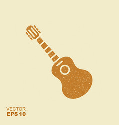 acoustic guitar sign icon with scuffed effect in a vector image