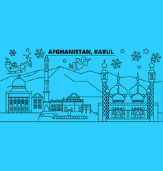 Afghanistan kabul winter holidays skyline merry vector