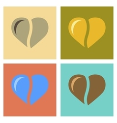 Assembly flat icons coffee bean heart vector
