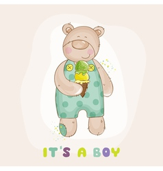 baby bear with ice cream - shower card vector image