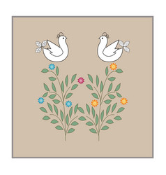 Birds on twig in square card vector