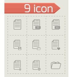 Black documents icon set vector