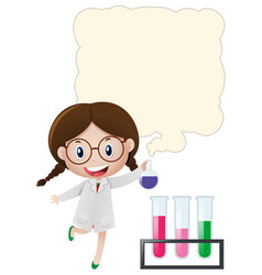 Border template with girl in science lab vector