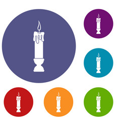 candle icons set vector image