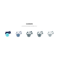 Cannon icon in different style two colored and vector