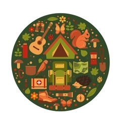 cartoon eco tourism icons vector image