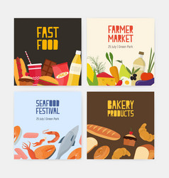 collection square cards flyer templates vector image