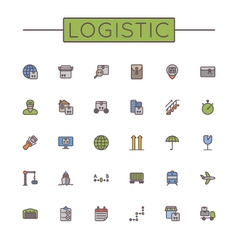 Colored Logistic Line Icons vector image