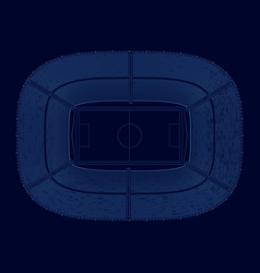 Contour football stadium blue lines on a vector
