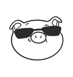 Cool pig in a black sunglasses for coloring book vector