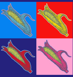 Corn food pop art style andy warhol style vector