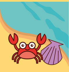 Crab crustacean clam beach sea life cartoon vector