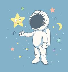 Curious astronaut plays with star vector