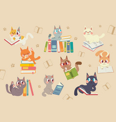 Cute cartoon cats character reading a book pack vector