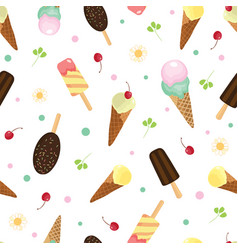 cute ice cream and candy seamless pattern vector image