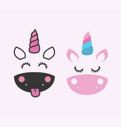 cute unicorn face design children graphics vector image