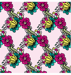 Doodle pattern red flowers and yellow and vector