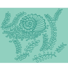 Drawing of shell in sea with seaweed vector image