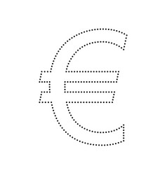 euro sign black dotted icon on white vector image
