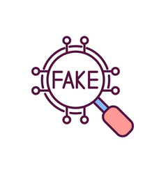 Fake news detection rgb color icon vector