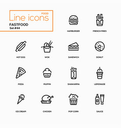 Fastfood concept - line design icons set vector