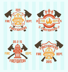 Fire department colored emblems vector