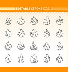 Fire simple black line icons set vector
