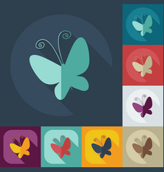 Flat modern design with shadow icons butterfly vector
