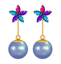 Flower pearl earrings mockup realistic style vector