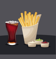 French fries and soda with ketchup mustard fast vector