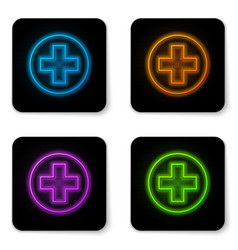 Glowing neon medical cross in circle icon vector