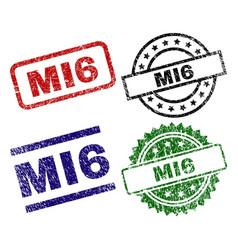 grunge textured mi6 stamp seals vector image