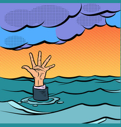 hand sinking in the sea vector image