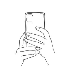 hands holding a mobile phone vector image