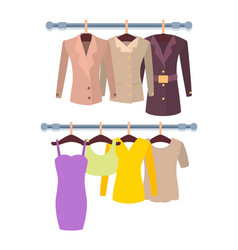 Hangers with mode female stuff colorful template vector