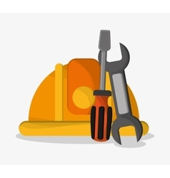 Helmet wrench and screwdriver design vector image