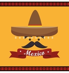 Icon hat mustache mexican culture design vector