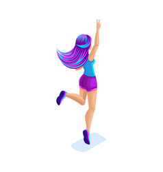 isometrics girl jumping having fun happy with vector image