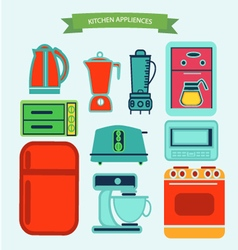 Kitchen appliances icons in flat vector