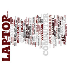 Laptop accessories text background word cloud vector