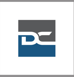 letter dc initial square logo vector image