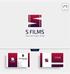 letter s movie cinema film simple logo template vector image