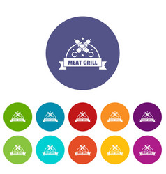 meat grill icons set color vector image